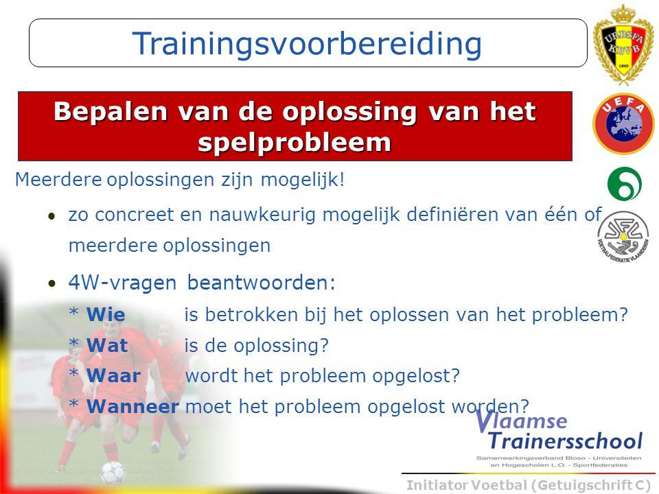 Initiator Voetbal (Getuigschrift C) Meerdere oplossingen zijn mogelijk! zo concreet en nauwkeurig mogelijk definiëren van één of meerdere oplossingen