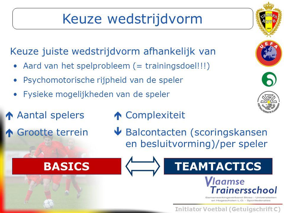 Initiator Voetbal (Getuigschrift C) Aard van het spelprobleem (= trainingsdoel!!!) Psychomotorische rijpheid van de speler Fysieke mogelijkheden van d