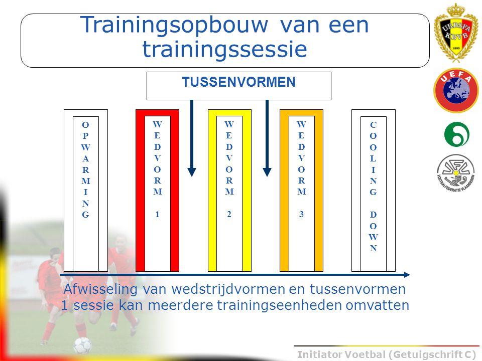Initiator Voetbal (Getuigschrift C) Afwisseling van wedstrijdvormen en tussenvormen 1 sessie kan meerdere trainingseenheden omvatten Trainingsopbouw v