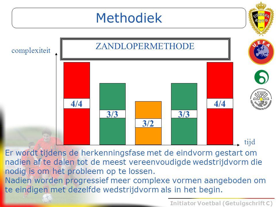 Initiator Voetbal (Getuigschrift C) Methodiek Er wordt tijdens de herkenningsfase met de eindvorm gestart om nadien af te dalen tot de meest vereenvou