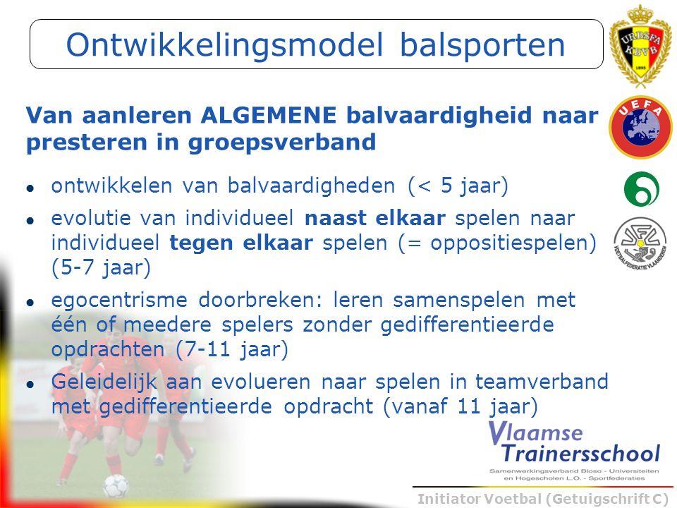 Initiator Voetbal (Getuigschrift C) ontwikkelen van balvaardigheden (< 5 jaar) evolutie van individueel naast elkaar spelen naar individueel tegen elk