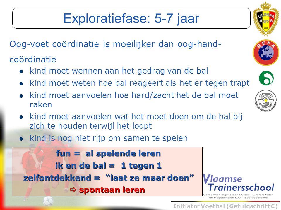 Initiator Voetbal (Getuigschrift C) kind moet wennen aan het gedrag van de bal kind moet weten hoe bal reageert als het er tegen trapt kind moet aanvo