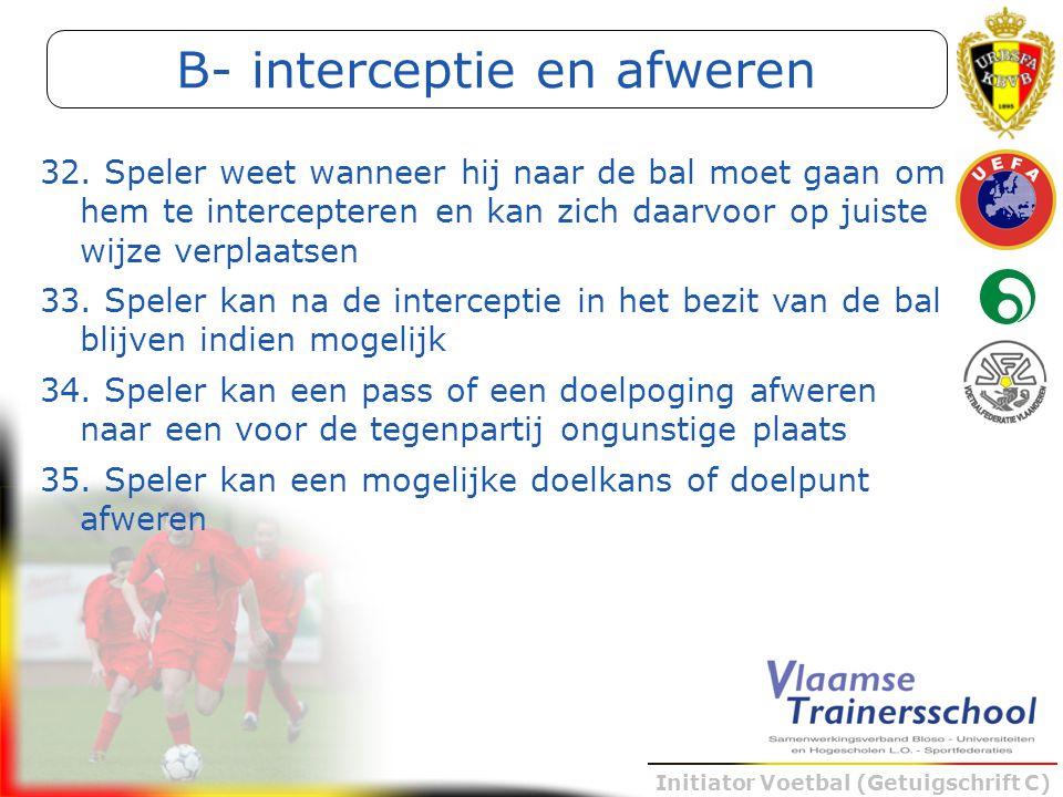 Initiator Voetbal (Getuigschrift C) B- interceptie en afweren 32. Speler weet wanneer hij naar de bal moet gaan om hem te intercepteren en kan zich da