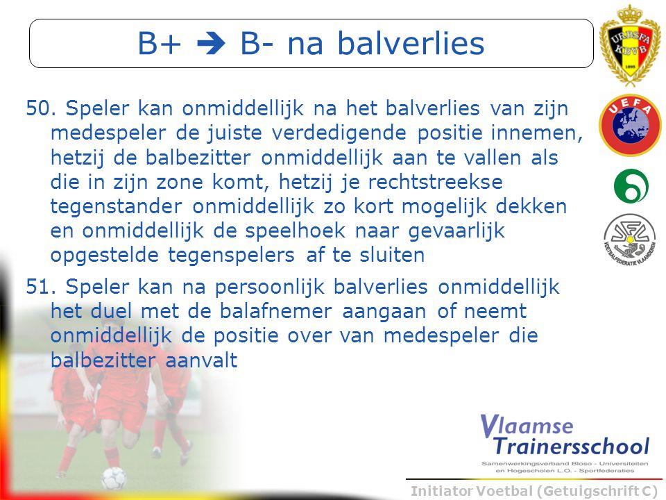 Initiator Voetbal (Getuigschrift C) B+  B- na balverlies 50. Speler kan onmiddellijk na het balverlies van zijn medespeler de juiste verdedigende pos
