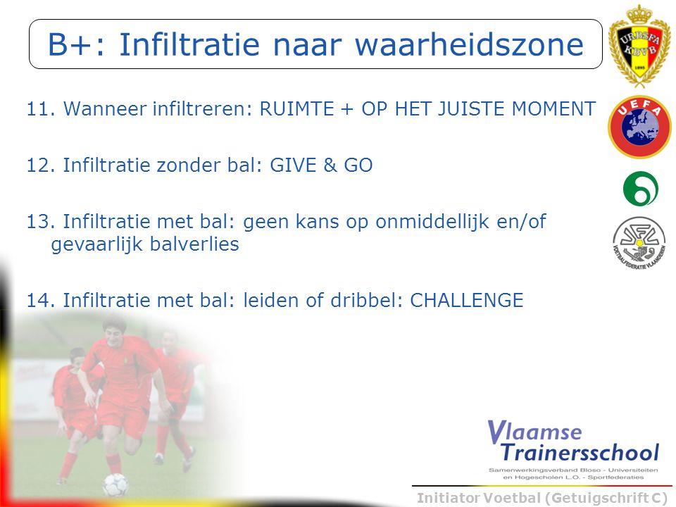 Initiator Voetbal (Getuigschrift C) 11. Wanneer infiltreren: RUIMTE + OP HET JUISTE MOMENT 12. Infiltratie zonder bal: GIVE & GO 13. Infiltratie met b
