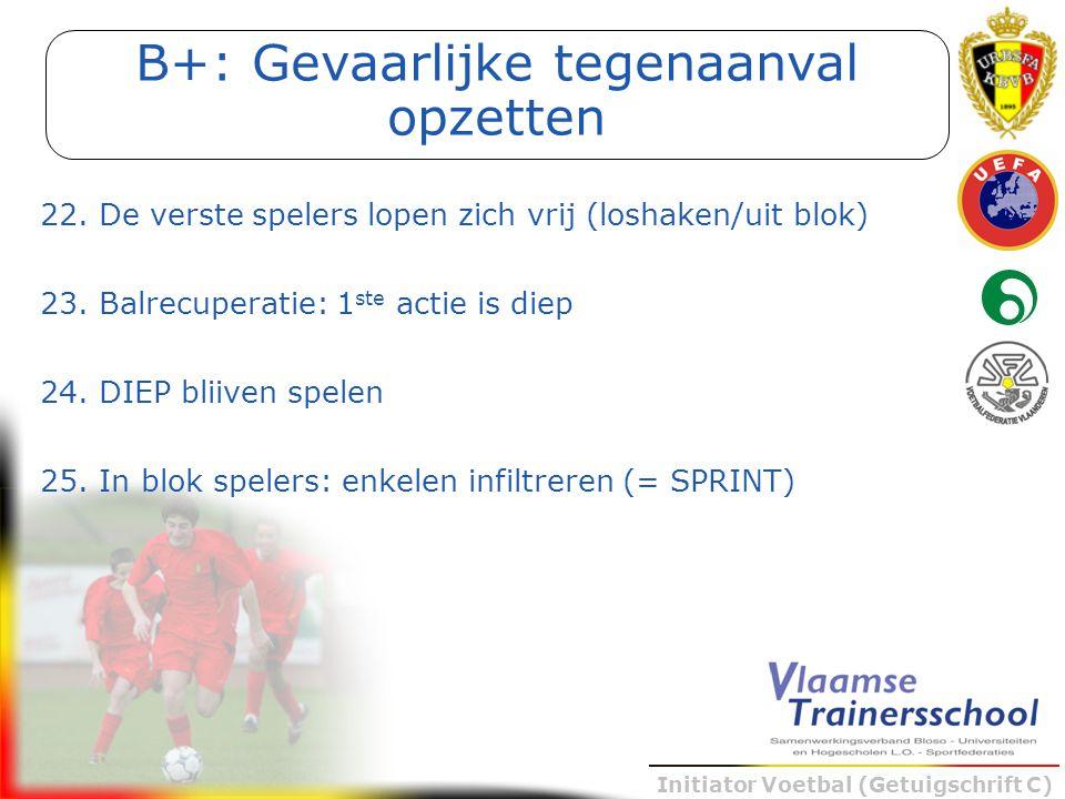 Initiator Voetbal (Getuigschrift C) 22. De verste spelers lopen zich vrij (loshaken/uit blok) 23. Balrecuperatie: 1 ste actie is diep 24. DIEP bliiven