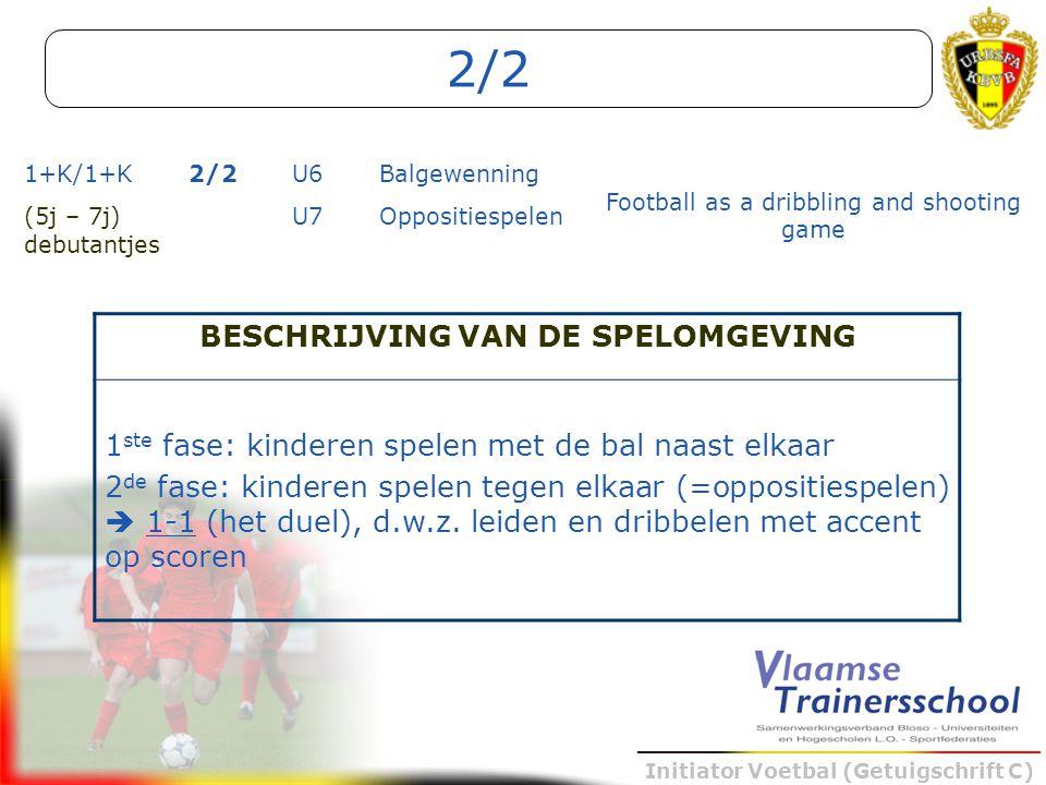 Initiator Voetbal (Getuigschrift C) 2/2 1+K/1+K2/2U6Balgewenning Football as a dribbling and shooting game (5j – 7j) debutantjes U7Oppositiespelen BES