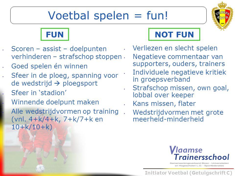 Initiator Voetbal (Getuigschrift C) Scoren – assist – doelpunten verhinderen – strafschop stoppen Goed spelen én winnen Sfeer in de ploeg, spanning vo