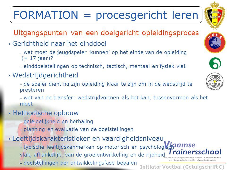 Initiator Voetbal (Getuigschrift C) FORMATION = procesgericht leren Uitgangspunten van een doelgericht opleidingsproces Gerichtheid naar het einddoel