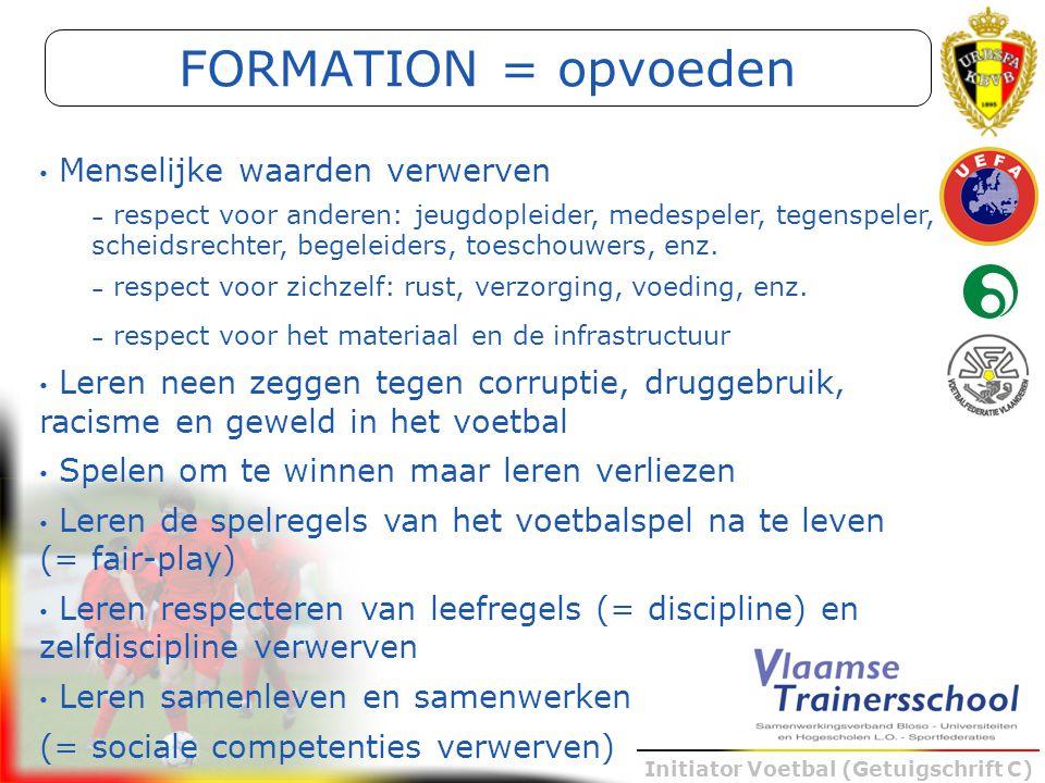 Initiator Voetbal (Getuigschrift C) FORMATION = opvoeden Menselijke waarden verwerven – respect voor anderen: jeugdopleider, medespeler, tegenspeler,