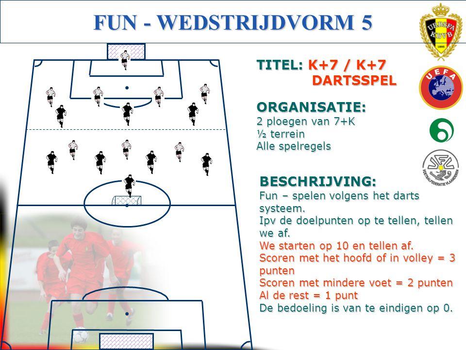 Initiator Voetbal (Getuigschrift C) FUN - WEDSTRIJDVORM 5 BESCHRIJVING: Fun – spelen volgens het darts systeem. Ipv de doelpunten op te tellen, tellen