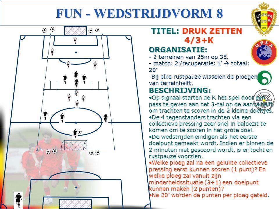 Initiator Voetbal (Getuigschrift C) FUN - WEDSTRIJDVORM 8 BESCHRIJVING: Op signaal starten de K het spel door een pass te geven aan het 3-tal op de aa