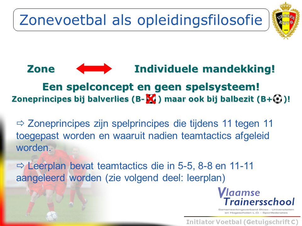 Initiator Voetbal (Getuigschrift C) Zonevoetbal als opleidingsfilosofie Zone Individuele mandekking! Een spelconcept en geen spelsysteem! Zoneprincipe