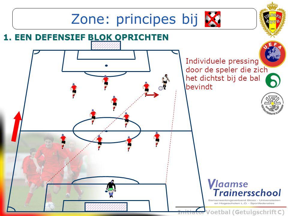 Initiator Voetbal (Getuigschrift C) 1. EEN DEFENSIEF BLOK OPRICHTEN Individuele pressing door de speler die zich het dichtst bij de bal bevindt Zone:
