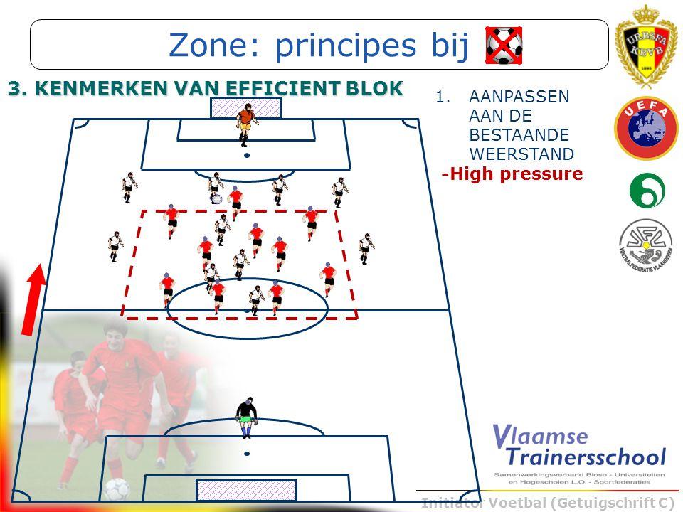 Initiator Voetbal (Getuigschrift C) -High pressure 1.AANPASSEN AAN DE BESTAANDE WEERSTAND Zone: principes bij 3. KENMERKEN VAN EFFICIENT BLOK