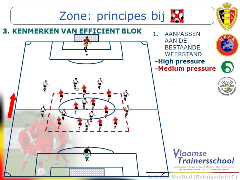 Initiator Voetbal (Getuigschrift C) -Medium pressure Zone: principes bij 3. KENMERKEN VAN EFFICIENT BLOK -High pressure 1.AANPASSEN AAN DE BESTAANDE W