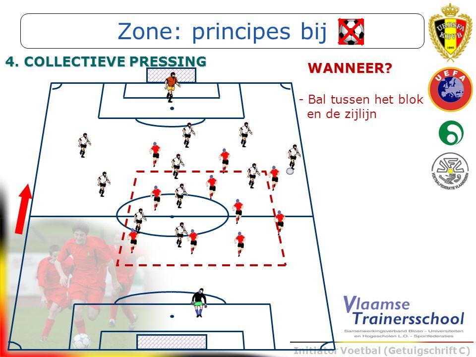Initiator Voetbal (Getuigschrift C) - Bal tussen het blok en de zijlijn WANNEER? Zone: principes bij 4. COLLECTIEVE PRESSING