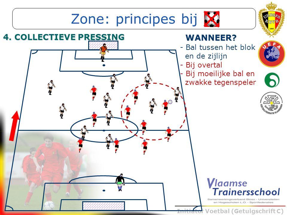 Initiator Voetbal (Getuigschrift C) - Bal tussen het blok en de zijlijn WANNEER? - Bij overtal - Bij moeilijke bal en zwakke tegenspeler Zone: princip
