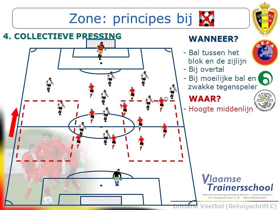 Initiator Voetbal (Getuigschrift C) - Bal tussen het blok en de zijlijn WANNEER? - Bij overtal - Bij moeilijke bal en zwakke tegenspeler WAAR? - Hoogt