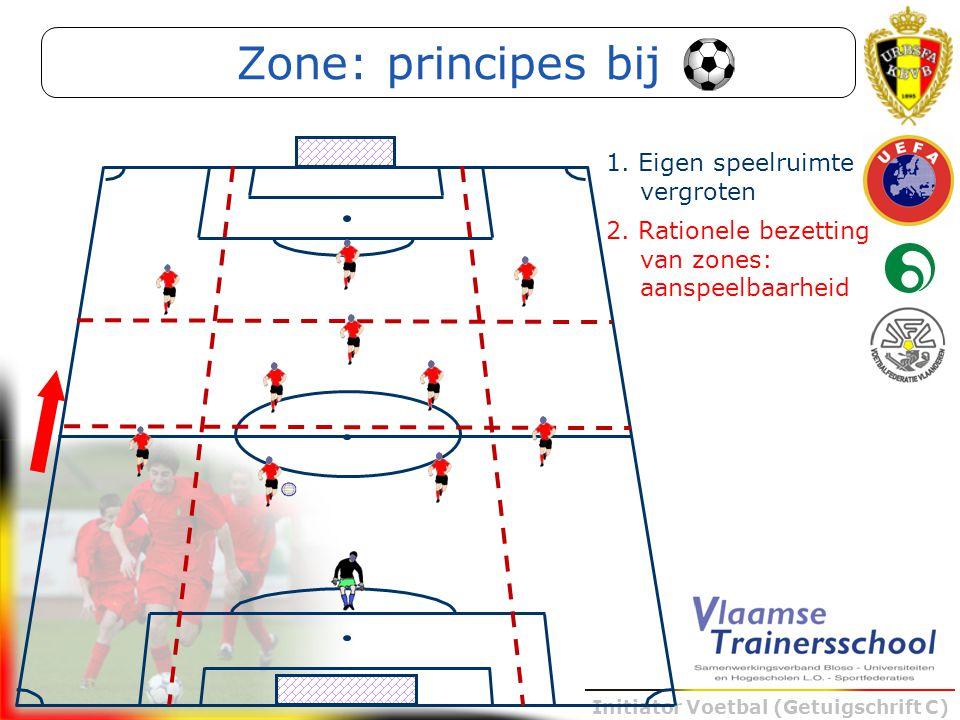 Initiator Voetbal (Getuigschrift C) 2. Rationele bezetting van zones: aanspeelbaarheid Zone: principes bij 1. Eigen speelruimte vergroten