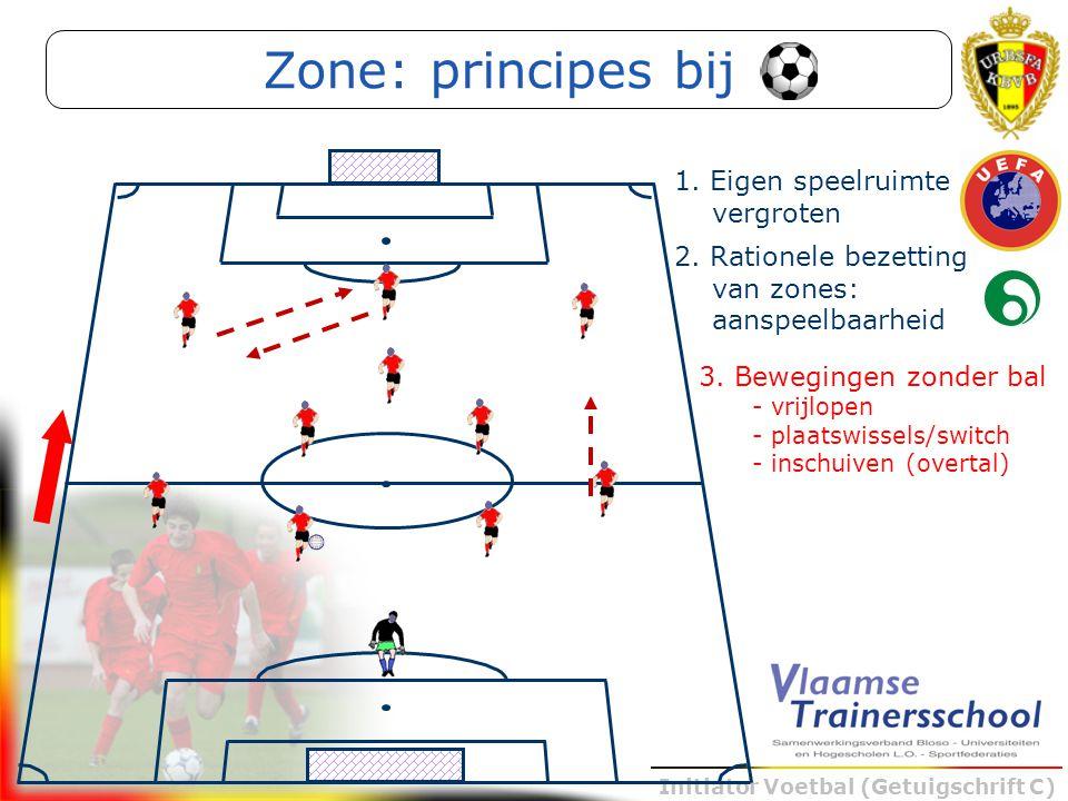 Initiator Voetbal (Getuigschrift C) 3. Bewegingen zonder bal - vrijlopen - plaatswissels/switch - inschuiven (overtal) Zone: principes bij 2. Rationel