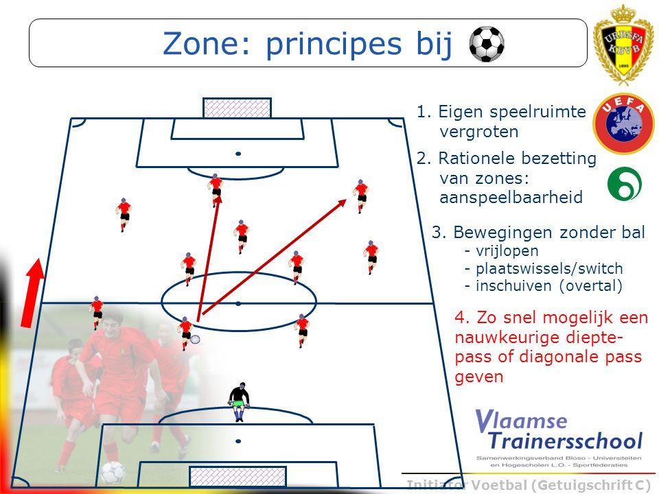 Initiator Voetbal (Getuigschrift C) 4. Zo snel mogelijk een nauwkeurige diepte- pass of diagonale pass geven Zone: principes bij 3. Bewegingen zonder
