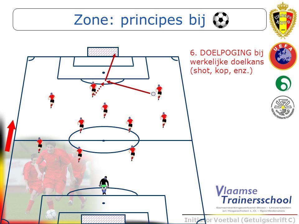 Initiator Voetbal (Getuigschrift C) 6. DOELPOGING bij werkelijke doelkans (shot, kop, enz.) Zone: principes bij