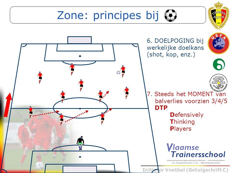 Initiator Voetbal (Getuigschrift C) 7. Steeds het MOMENT van balverlies voorzien 3/4/5 DTP Defensively Thinking Players Zone: principes bij 6. DOELPOG