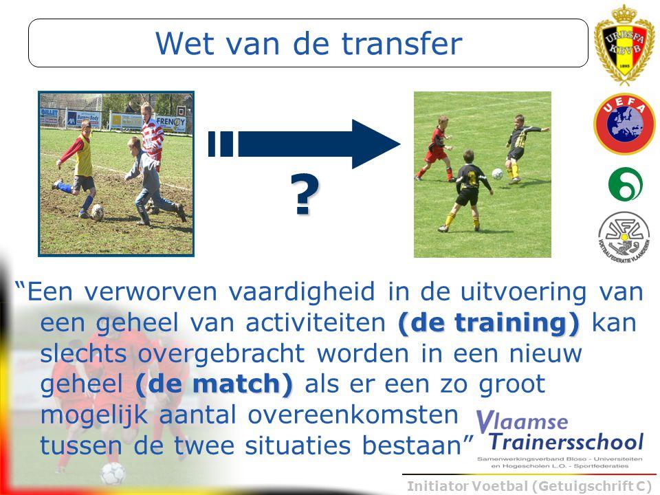 """Initiator Voetbal (Getuigschrift C) (de training) (de match) """"Een verworven vaardigheid in de uitvoering van een geheel van activiteiten (de training)"""