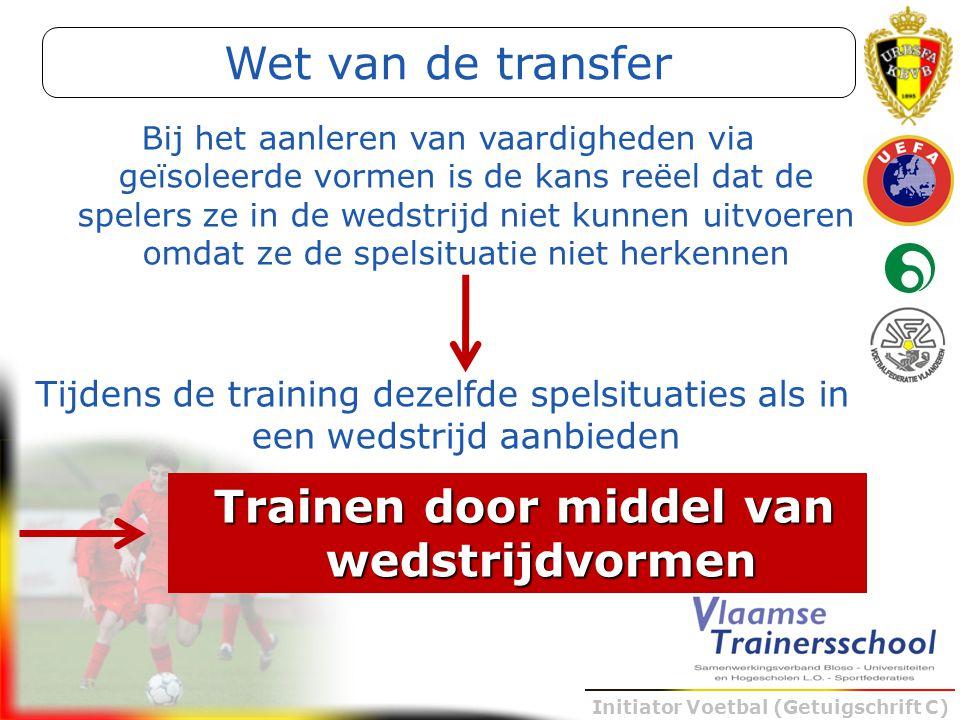 Initiator Voetbal (Getuigschrift C) Bij het aanleren van vaardigheden via geïsoleerde vormen is de kans reëel dat de spelers ze in de wedstrijd niet k