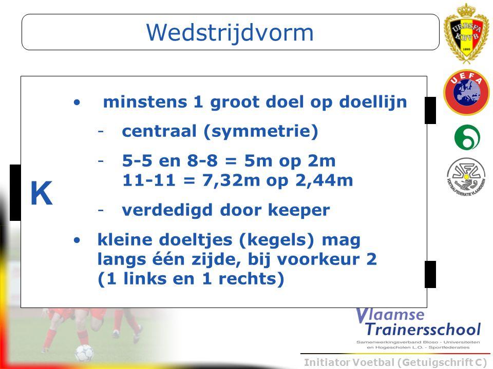 Initiator Voetbal (Getuigschrift C) K minstens 1 groot doel op doellijn -centraal (symmetrie) -5-5 en 8-8 = 5m op 2m 11-11 = 7,32m op 2,44m -verdedigd