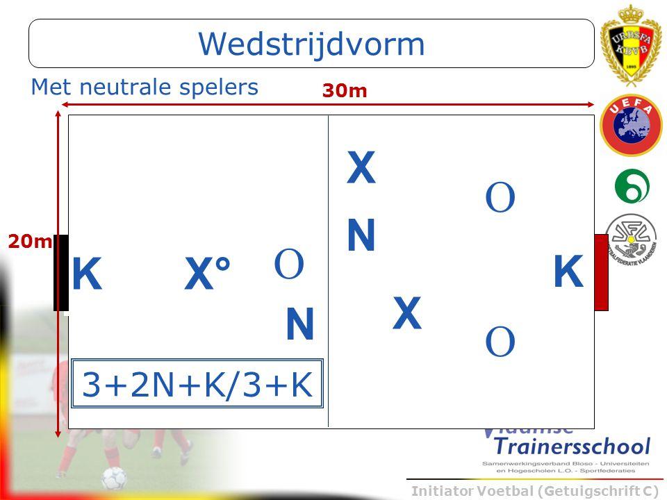 Initiator Voetbal (Getuigschrift C) K X X X° O O O 30m 20m 3+2N+K/3+K N N Met neutrale spelers Wedstrijdvorm K