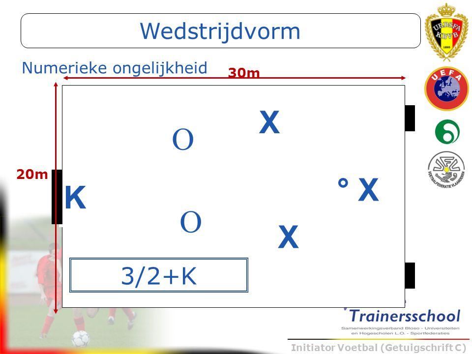 Initiator Voetbal (Getuigschrift C) K X X ° X O O 30m 20m 3/2+K Numerieke ongelijkheid Wedstrijdvorm