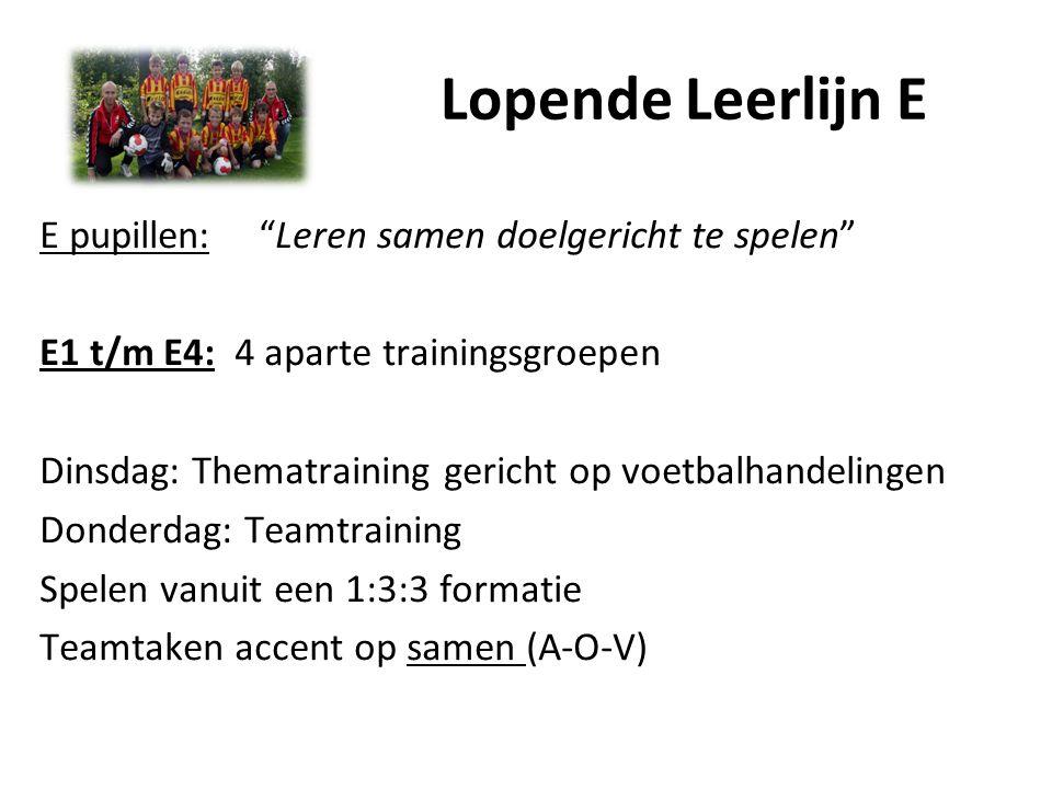 "Lopende Leerlijn E E pupillen: ""Leren samen doelgericht te spelen"" E1 t/m E4: 4 aparte trainingsgroepen Dinsdag: Thematraining gericht op voetbalhande"