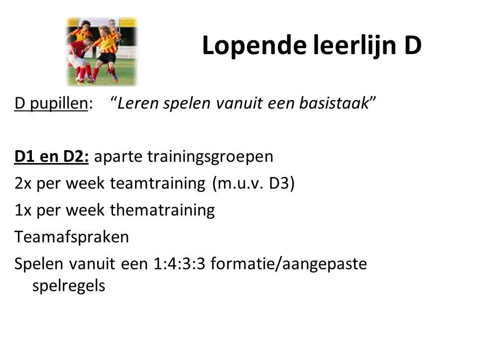 """Lopende leerlijn D D pupillen:""""Leren spelen vanuit een basistaak"""" D1 en D2: aparte trainingsgroepen 2x per week teamtraining (m.u.v. D3) 1x per week t"""