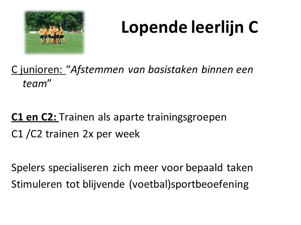"""Lopende leerlijn C C junioren: """"Afstemmen van basistaken binnen een team"""" C1 en C2: Trainen als aparte trainingsgroepen C1 /C2 trainen 2x per week Spe"""