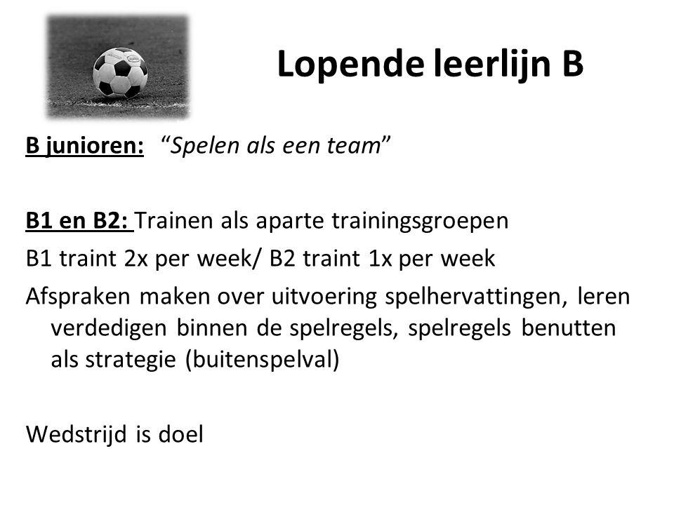 """Lopende leerlijn B B junioren: """"Spelen als een team"""" B1 en B2: Trainen als aparte trainingsgroepen B1 traint 2x per week/ B2 traint 1x per week Afspra"""