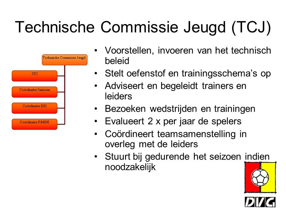 Technische Commissie Jeugd (TCJ) Voorstellen, invoeren van het technisch beleid Stelt oefenstof en trainingsschema's op Adviseert en begeleidt trainer