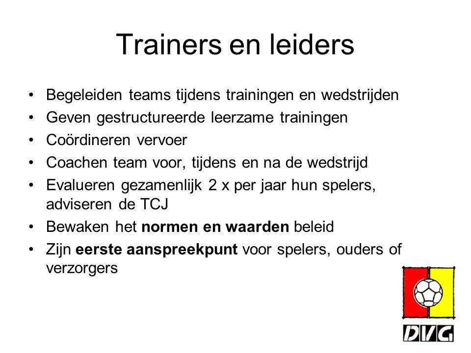 Trainers en leiders Begeleiden teams tijdens trainingen en wedstrijden Geven gestructureerde leerzame trainingen Coördineren vervoer Coachen team voor