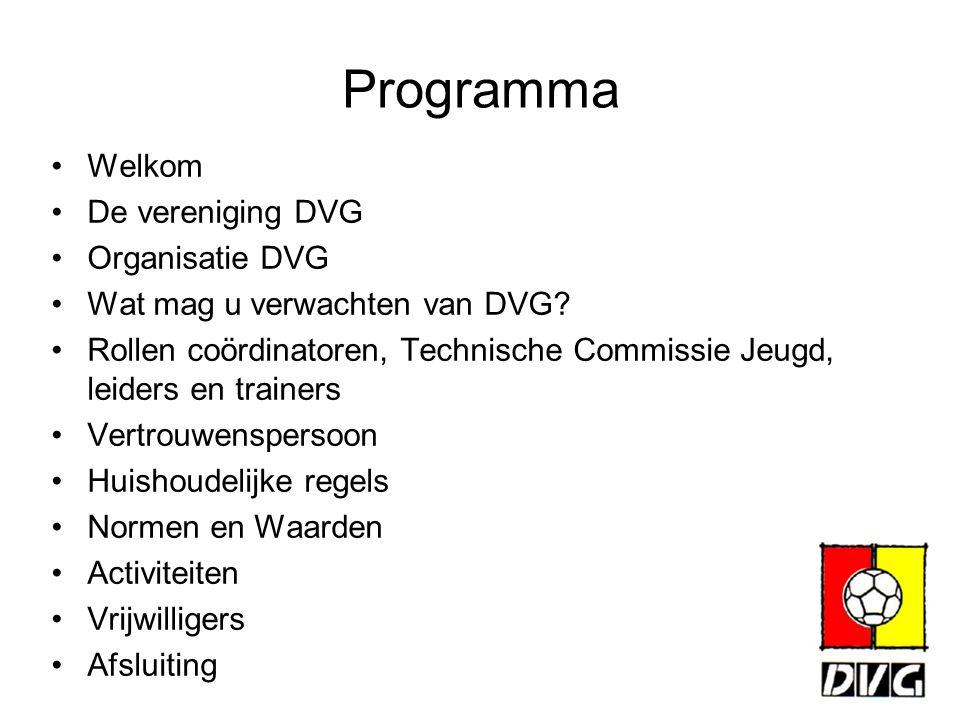 Programma Welkom De vereniging DVG Organisatie DVG Wat mag u verwachten van DVG? Rollen coördinatoren, Technische Commissie Jeugd, leiders en trainers