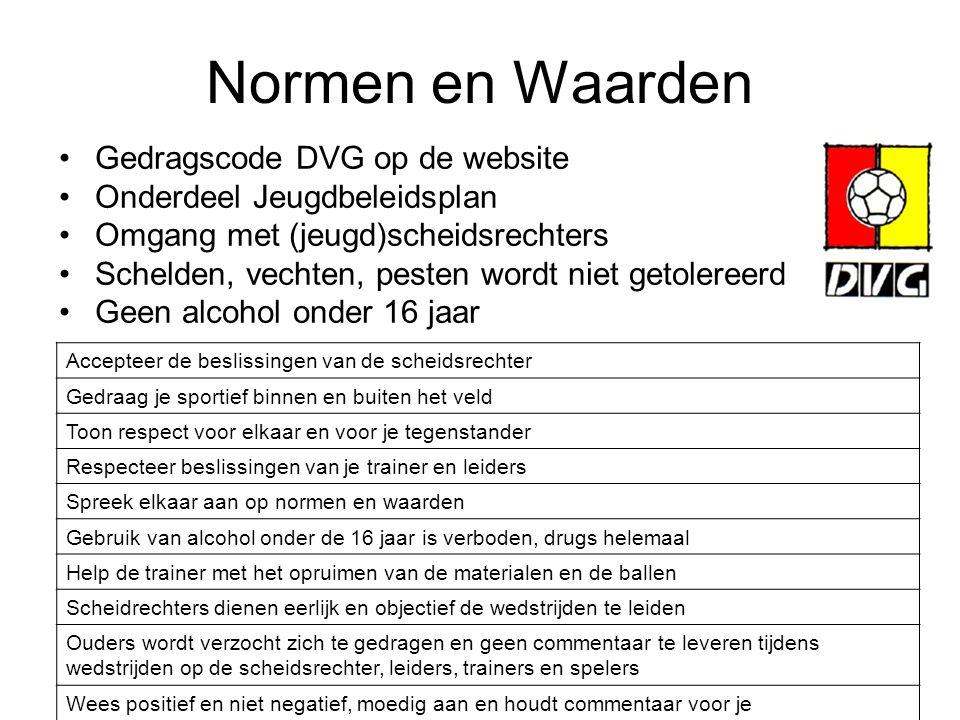 Normen en Waarden Gedragscode DVG op de website Onderdeel Jeugdbeleidsplan Omgang met (jeugd)scheidsrechters Schelden, vechten, pesten wordt niet geto