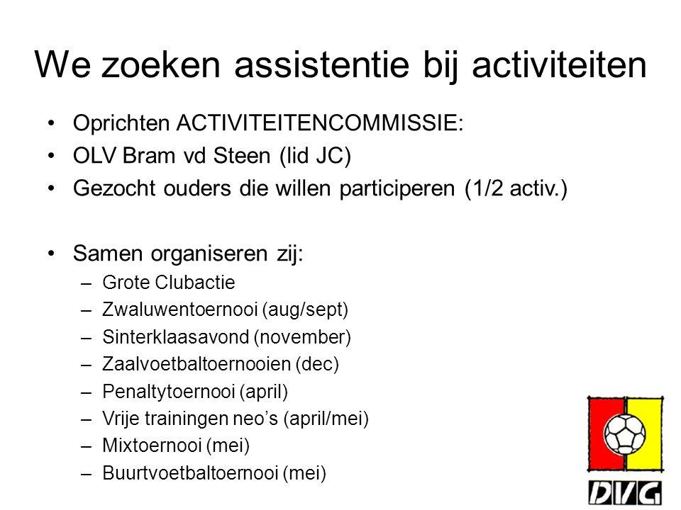 We zoeken assistentie bij activiteiten Oprichten ACTIVITEITENCOMMISSIE: OLV Bram vd Steen (lid JC) Gezocht ouders die willen participeren (1/2 activ.)