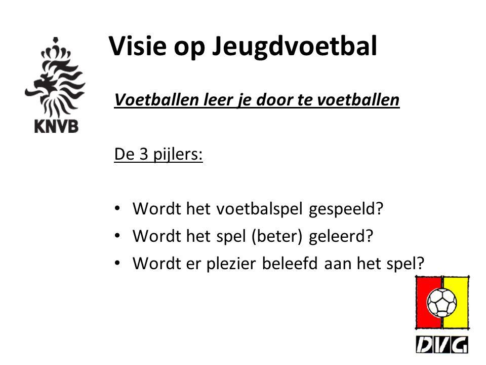Visie op Jeugdvoetbal Voetballen leer je door te voetballen De 3 pijlers: Wordt het voetbalspel gespeeld? Wordt het spel (beter) geleerd? Wordt er ple