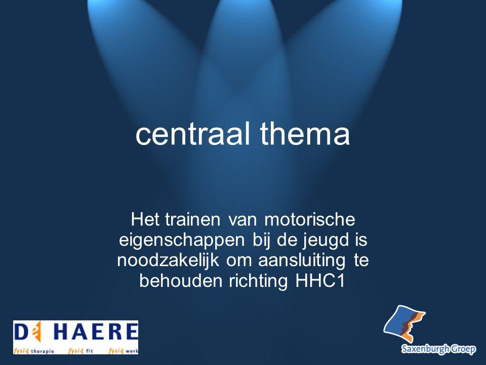 centraal thema Het trainen van motorische eigenschappen bij de jeugd is noodzakelijk om aansluiting te behouden richting HHC1