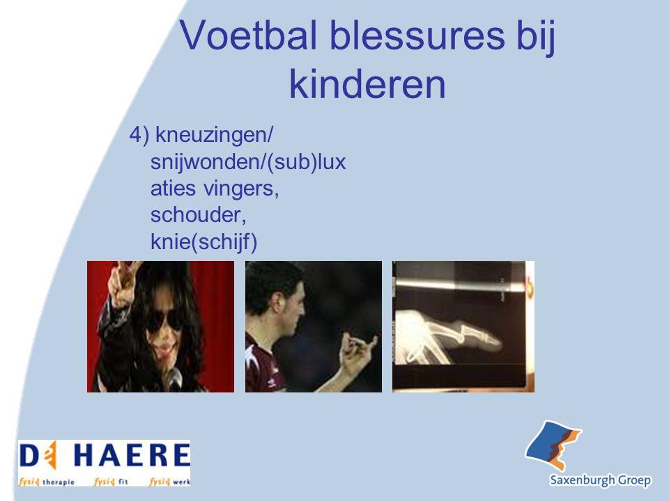 Voetbal blessures bij kinderen 4) kneuzingen/ snijwonden/(sub)lux aties vingers, schouder, knie(schijf)