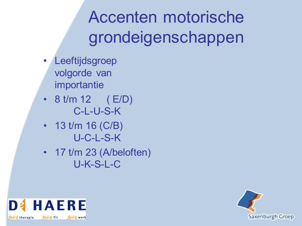 Accenten motorische grondeigenschappen Leeftijdsgroep volgorde van importantie 8 t/m 12 ( E/D) C-L-U-S-K 13 t/m 16 (C/B) U-C-L-S-K 17 t/m 23 (A/beloften) U-K-S-L-C