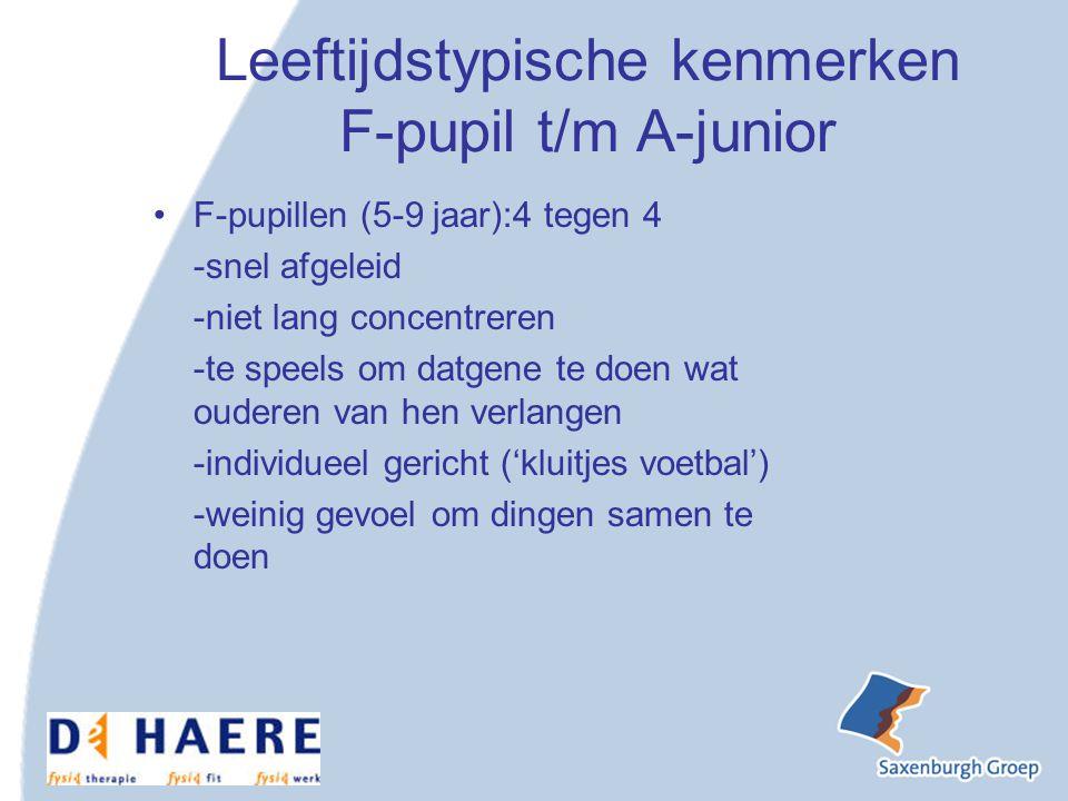 Leeftijdstypische kenmerken F-pupil t/m A-junior F-pupillen (5-9 jaar):4 tegen 4 -snel afgeleid -niet lang concentreren -te speels om datgene te doen wat ouderen van hen verlangen -individueel gericht ('kluitjes voetbal') -weinig gevoel om dingen samen te doen