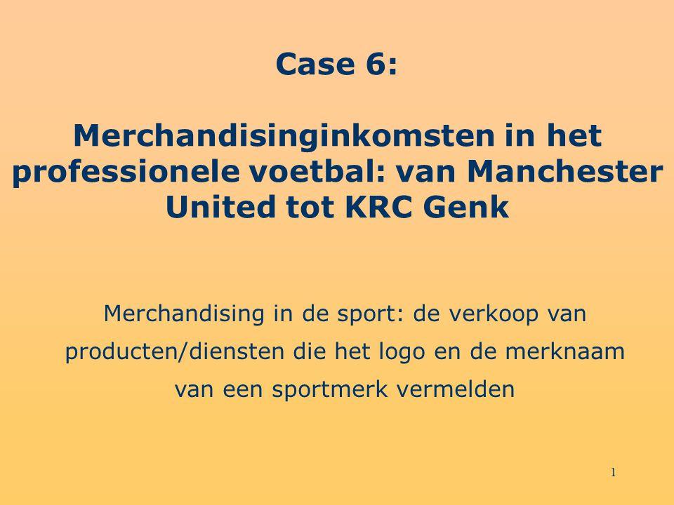 1 Case 6: Merchandisinginkomsten in het professionele voetbal: van Manchester United tot KRC Genk Merchandising in de sport: de verkoop van producten/diensten die het logo en de merknaam van een sportmerk vermelden