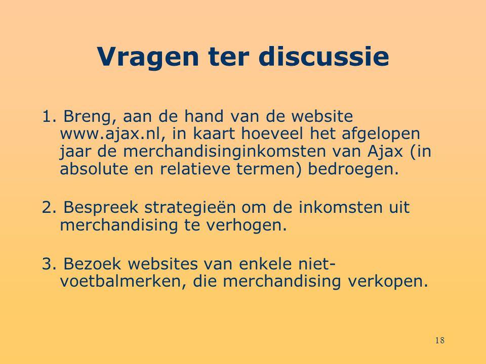 18 Vragen ter discussie 1. Breng, aan de hand van de website www.ajax.nl, in kaart hoeveel het afgelopen jaar de merchandisinginkomsten van Ajax (in a