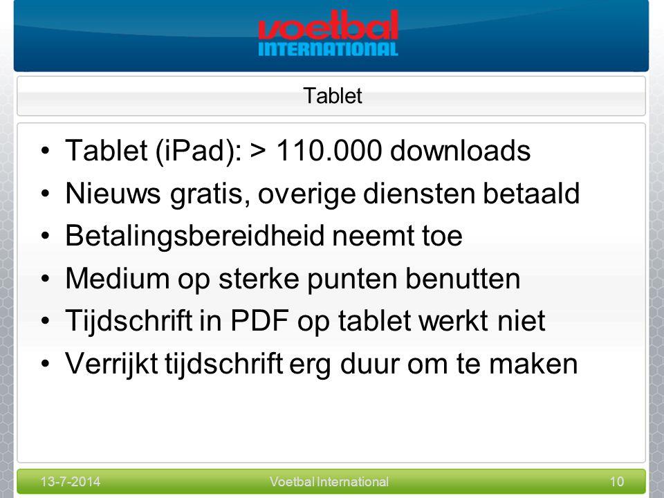 13-7-2014Voetbal International10 Tablet Tablet (iPad): > 110.000 downloads Nieuws gratis, overige diensten betaald Betalingsbereidheid neemt toe Medium op sterke punten benutten Tijdschrift in PDF op tablet werkt niet Verrijkt tijdschrift erg duur om te maken